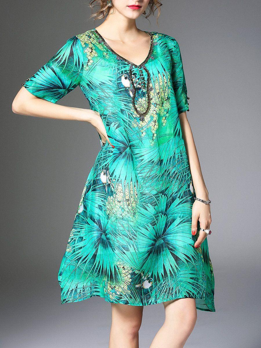 AdoreWe #StyleWe ELENYUN Green Vintage Two Piece V Neck Animal Print ...