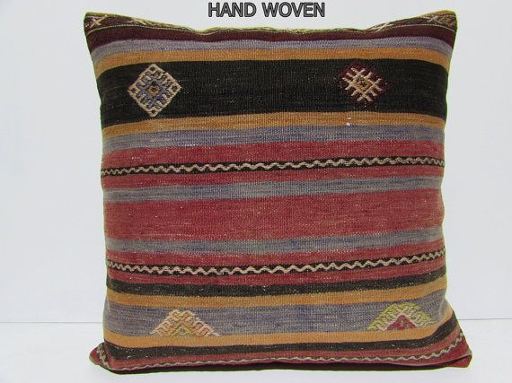 24x24 Kilim Pillow Large Cushion Cover Euro Sham Extra Couch