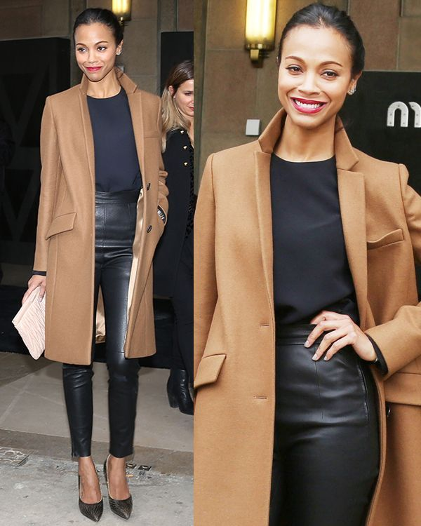 Photo of Zoe Saldana in Camel Trench Coat and Miu Miu Craquele Pumps