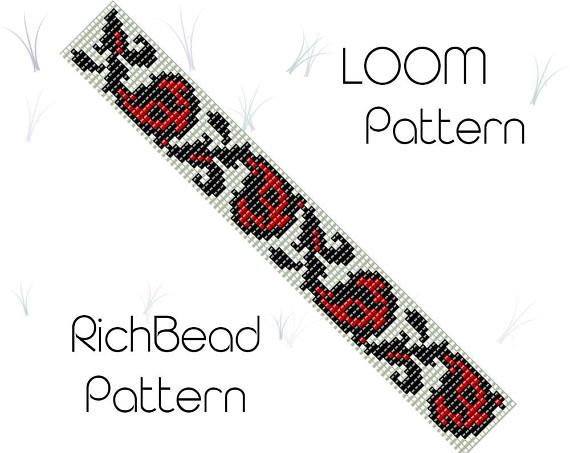 Flower bead loom bracelet pattern, PDF seed beaded