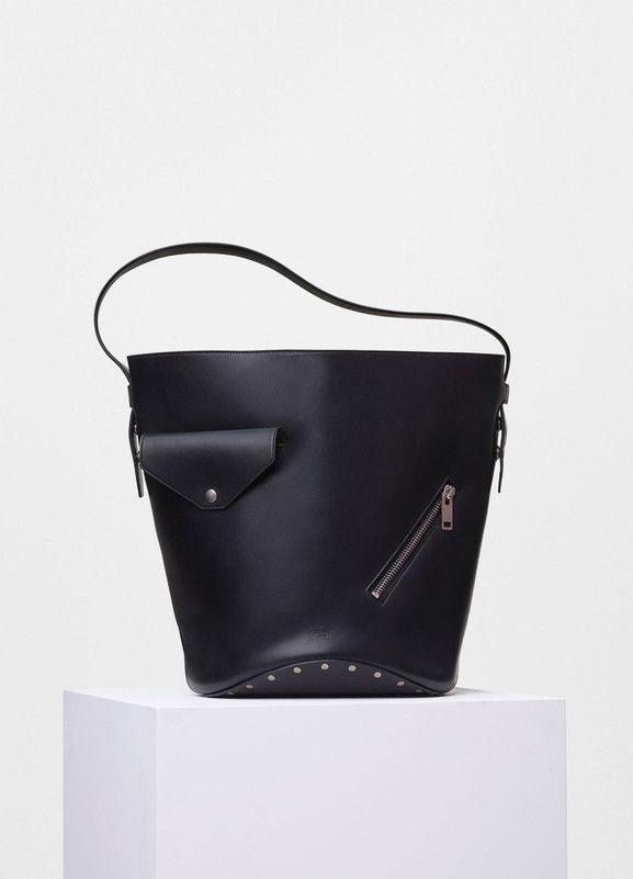 dc7992b1d4b8 Bucket Biker Shoulder Bag in Black and Sunflower Natural Calfskin - Céline