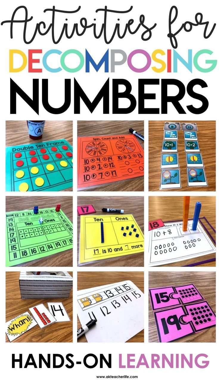 18 Hands-on activities for decomposing teen numbers into ten and some ones. Includes a counting book, practice worksheets and a digital PowerPoint game.
