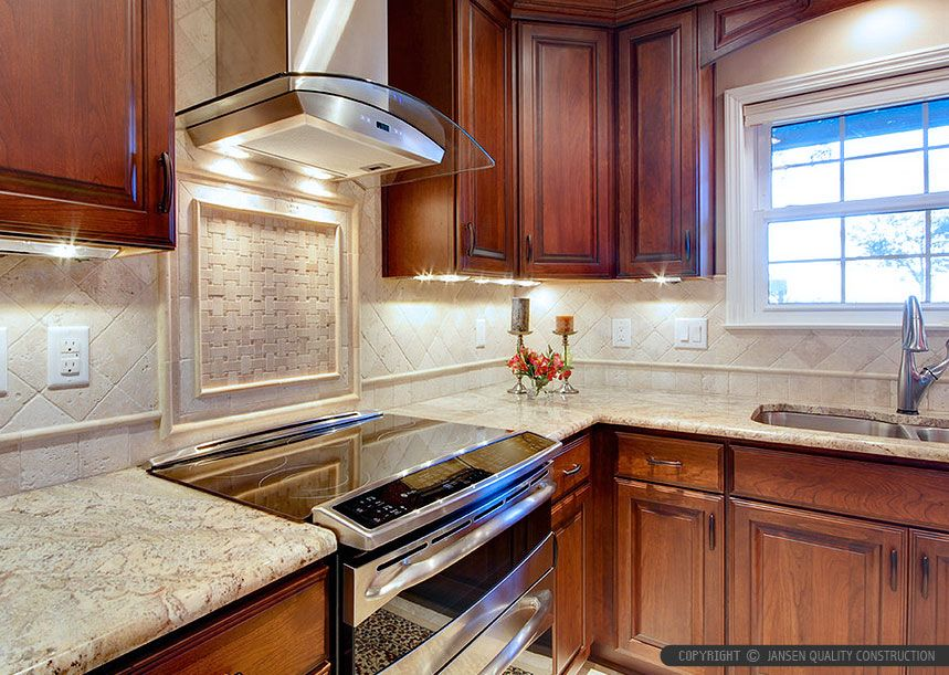 Kitchen Backsplash Pictures Travertine brown cabinet countertop antiqued travertine kitchen backsplash
