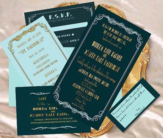 Old Hollywood Glamour Wedding Invitation Grad Party Wedding