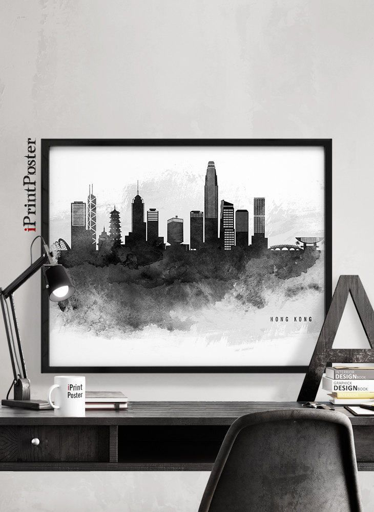 Hong kong skyline hong kong wall art print hong kong poster black white travel poster art gift home decor city prints iprintposter
