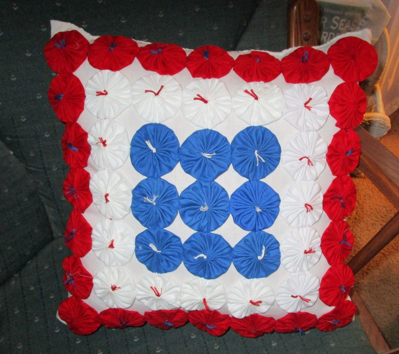 Red White and Blue Handmade Yoyo Pillow, Americana, Patriotic, Colorful, Decorative by YoyosAndMoreByJill on Etsy