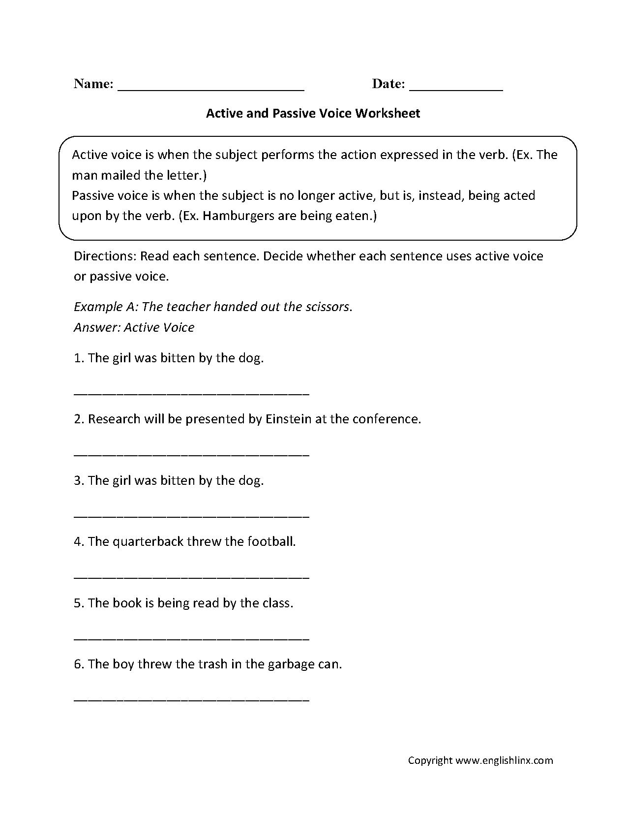 Active vs passive voice worksheet high school