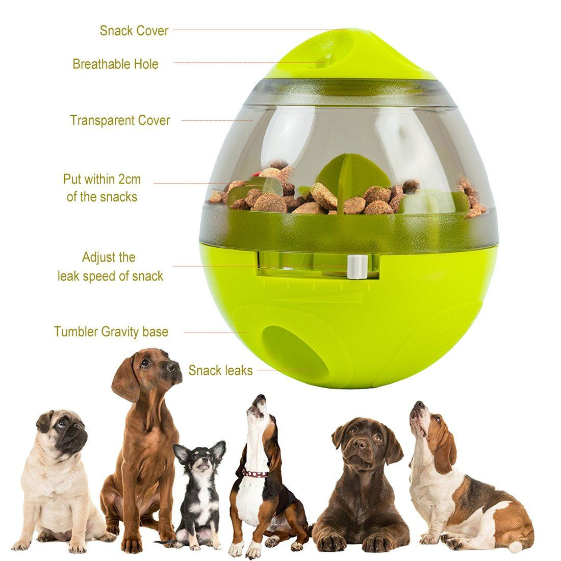 Interactive Dog Toy Pets Treat Dispensing Ball For Dog Cat Feeding
