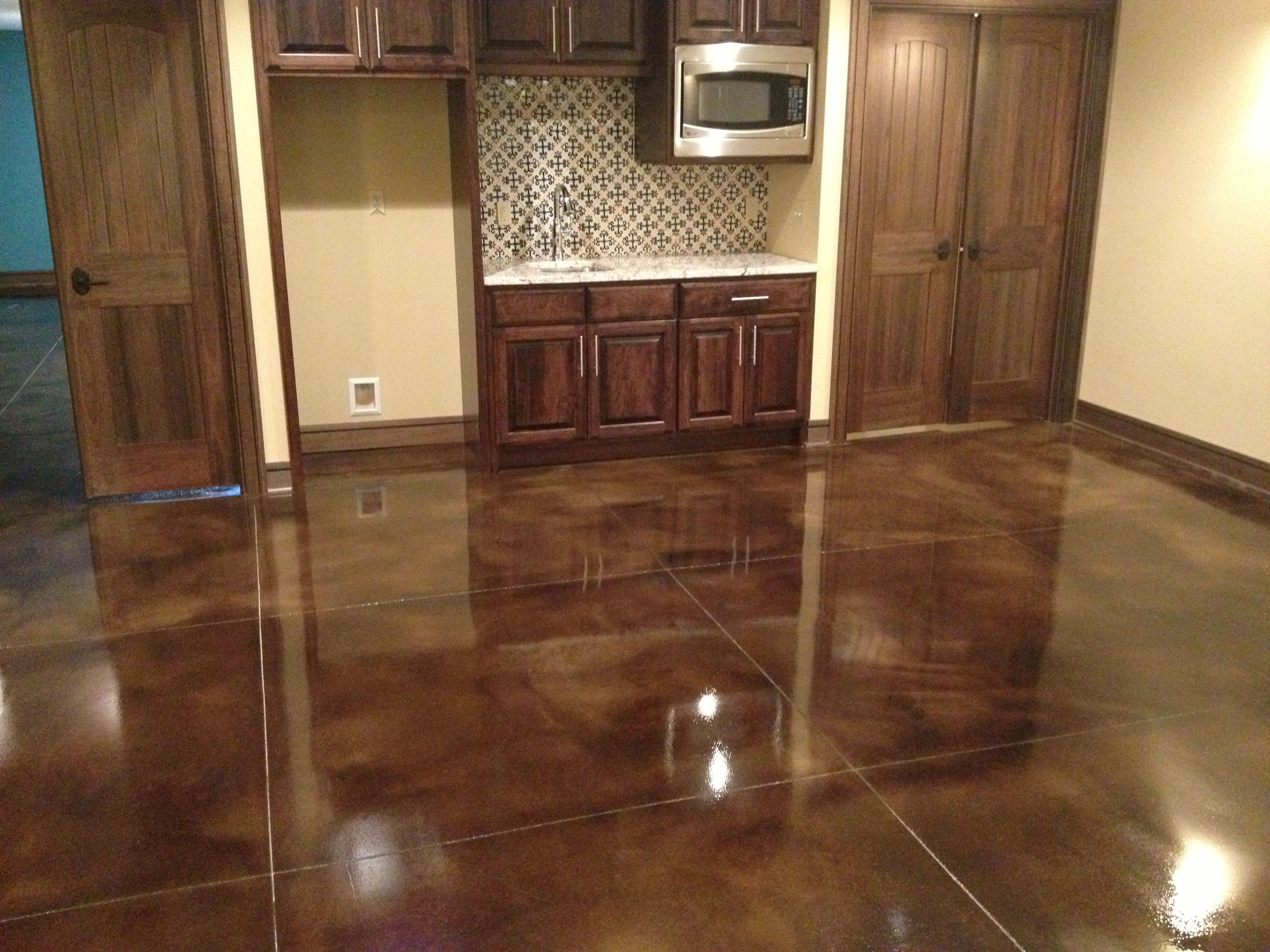 They create customized stained concrete polished concrete for How to care for stained concrete floors
