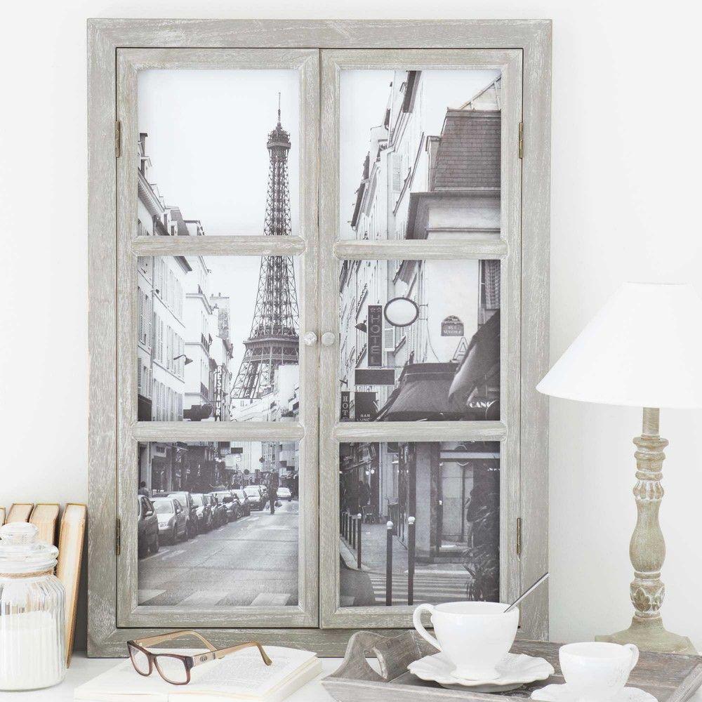 tableau fen tre tour eiffel 57 x 79 cm maisons du monde. Black Bedroom Furniture Sets. Home Design Ideas