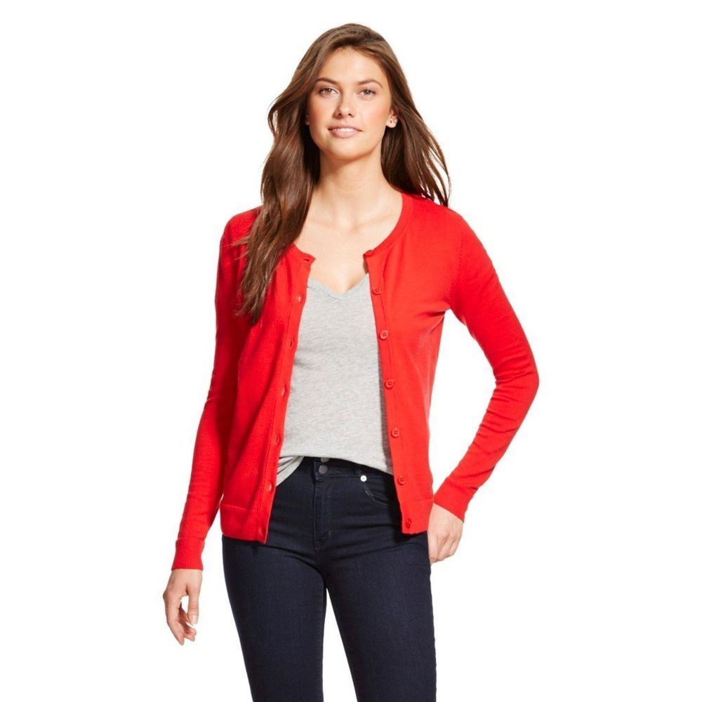 Merona Women's Favorite Cardigan Sweater Red Button Down Crew Neck ...