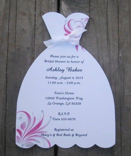 wedding dress bridal shower invitations with swirls set of