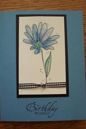 Easy Blue birthday card using Stampin Up In Full Bloom