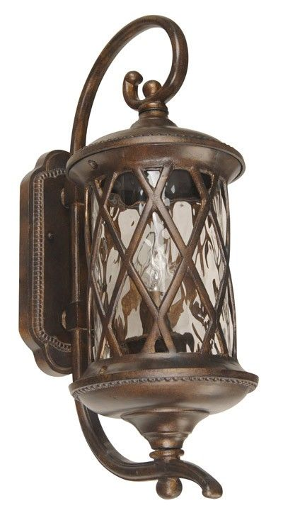 Beacon Lighting - Villa 1 light medium exterior wall bracket in antique gold finish with clear  sc 1 st  Pinterest & Beacon Lighting - Villa 1 light medium exterior wall bracket in ... azcodes.com