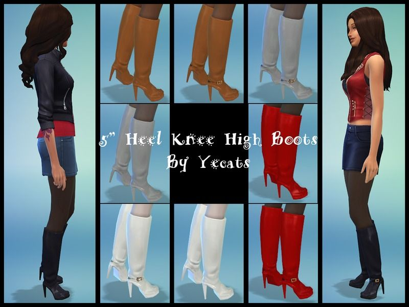 yecats five inch heel knee high boots sims 4 shoes