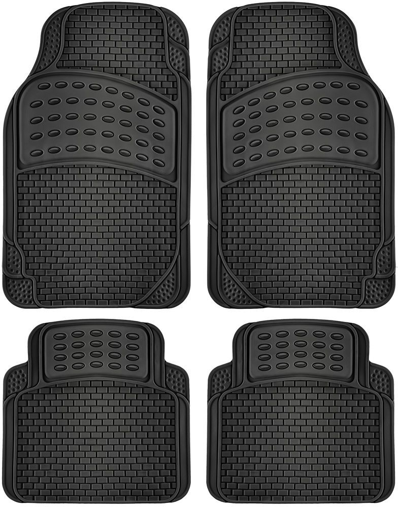 2 Tone Black Red Floor Mats for Car SUV Van All Weather