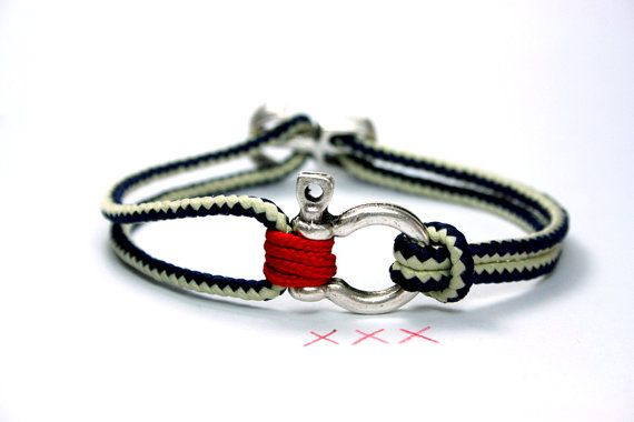 New Nautical Bracelet Red Blue White With A Shackle Sail Rope Paracord And Anchor Clasp Maritime For Sailors İndİvİdual