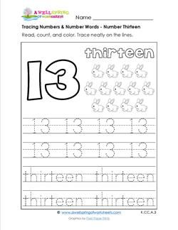 In this tracing numbers & number words worksheet kids read the ...