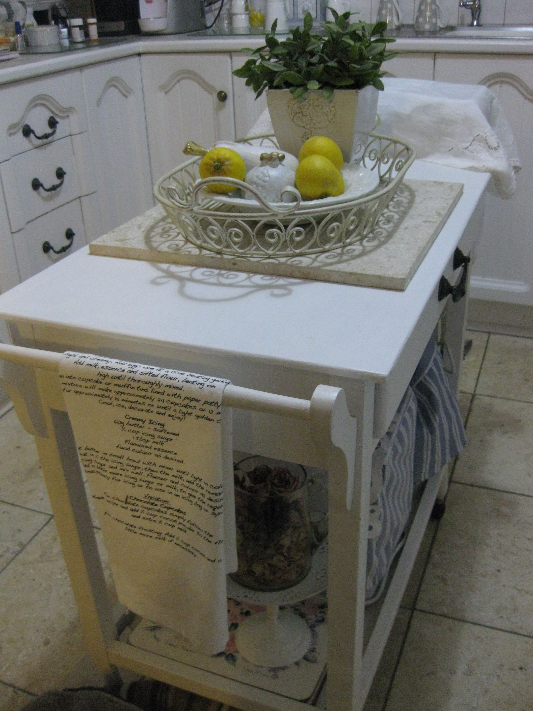 My nanna's old tea trolly, upcycled to a kitchen island.