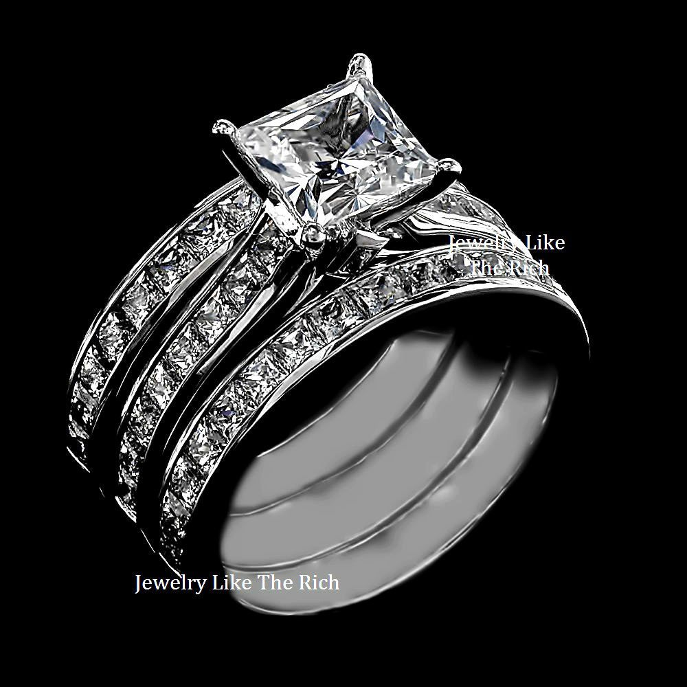princess cut sim diamond engagement ring 3pc wedding set. Black Bedroom Furniture Sets. Home Design Ideas
