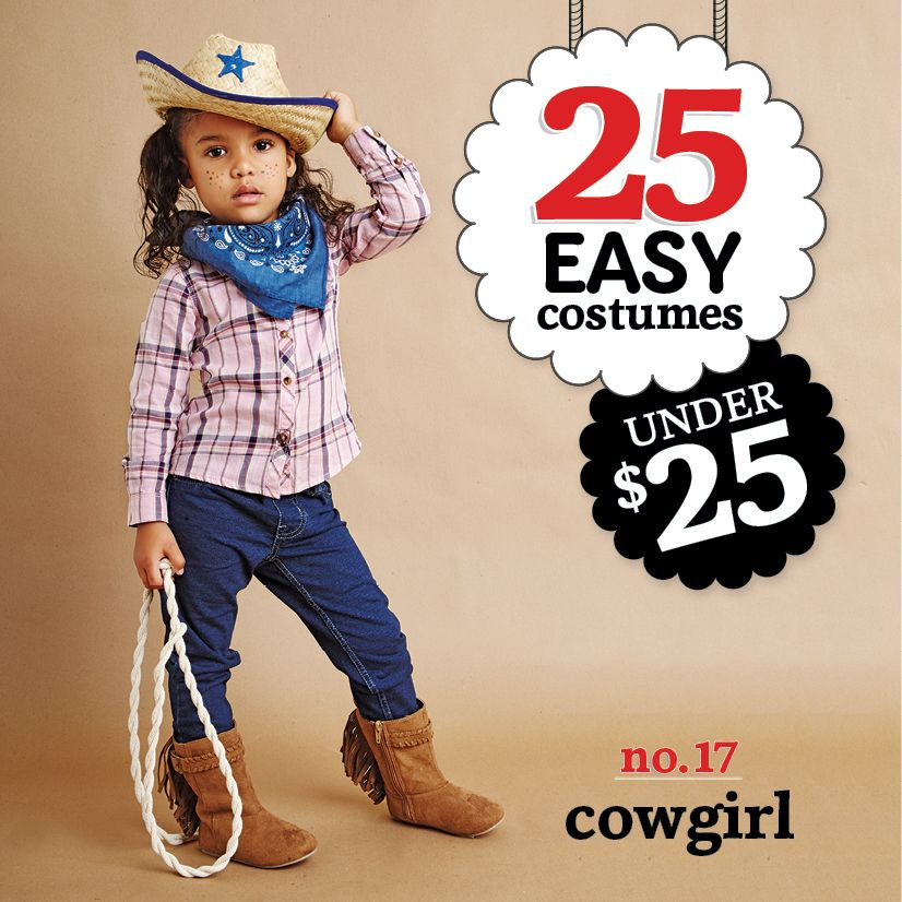 25 easy costumes under $25 - Cowgirl - Today's Parent. http://www.todaysparent.com/family/activities/halloween-costumes-bandanas/ #halloween #costumes
