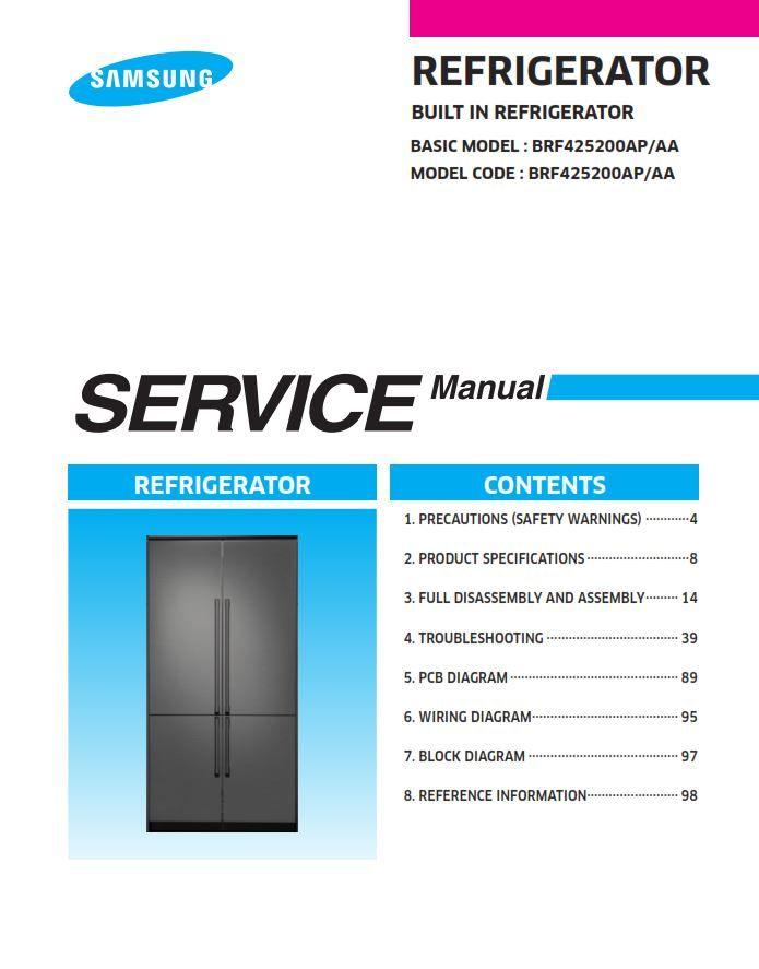 Samsung Brf425200ap Refrigerator Service Manual And Repair