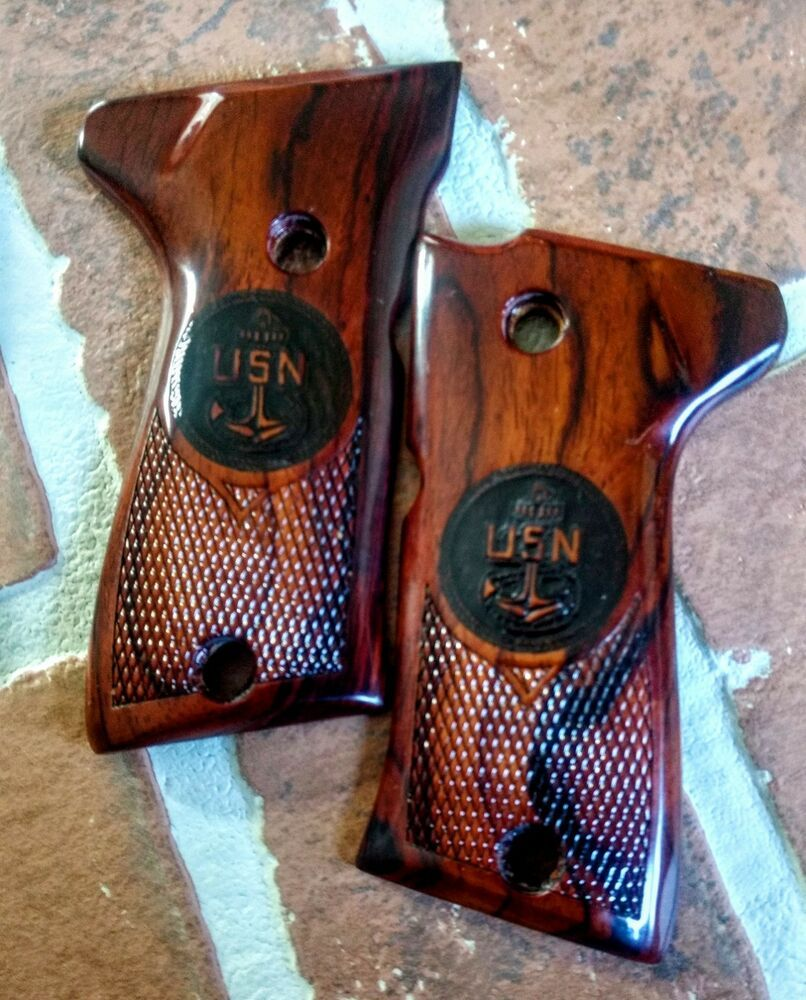 Compact Beretta 92 / 96 Cocobolo Grips  US Navy engraved  Half