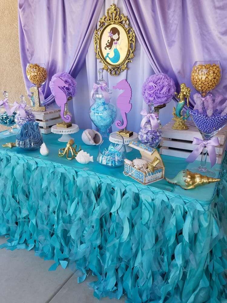 Mermaid Birthday Party Catchmyparty Com Mermaid Birthday Party Decorations Mermaid Party Decorations Mermaid Theme Birthday
