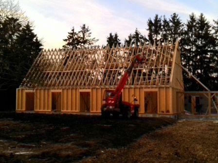 Vue D'Ensemble De La Maison Bois En Construction | Construction