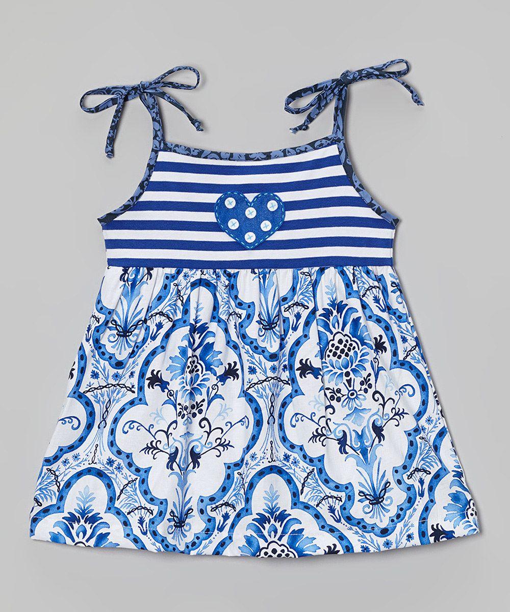 fcb6621d8a89c7 Blue Damask Tie-Strap Top - Toddler & Girls by Tutu & Lilli #zulily  #zulilyfinds. $26.99, 100% cotton
