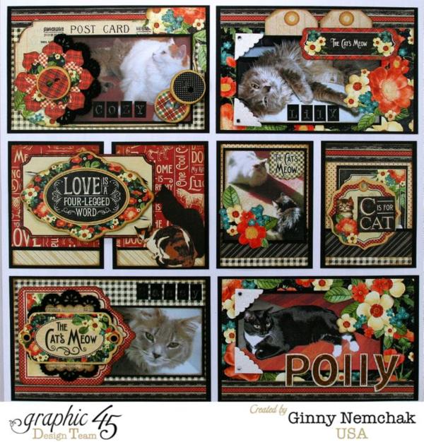 Ginny Nemchak Pocket Scrapbooking Raining Cats & Dogs Layout page 2 #graphic45 #layouts