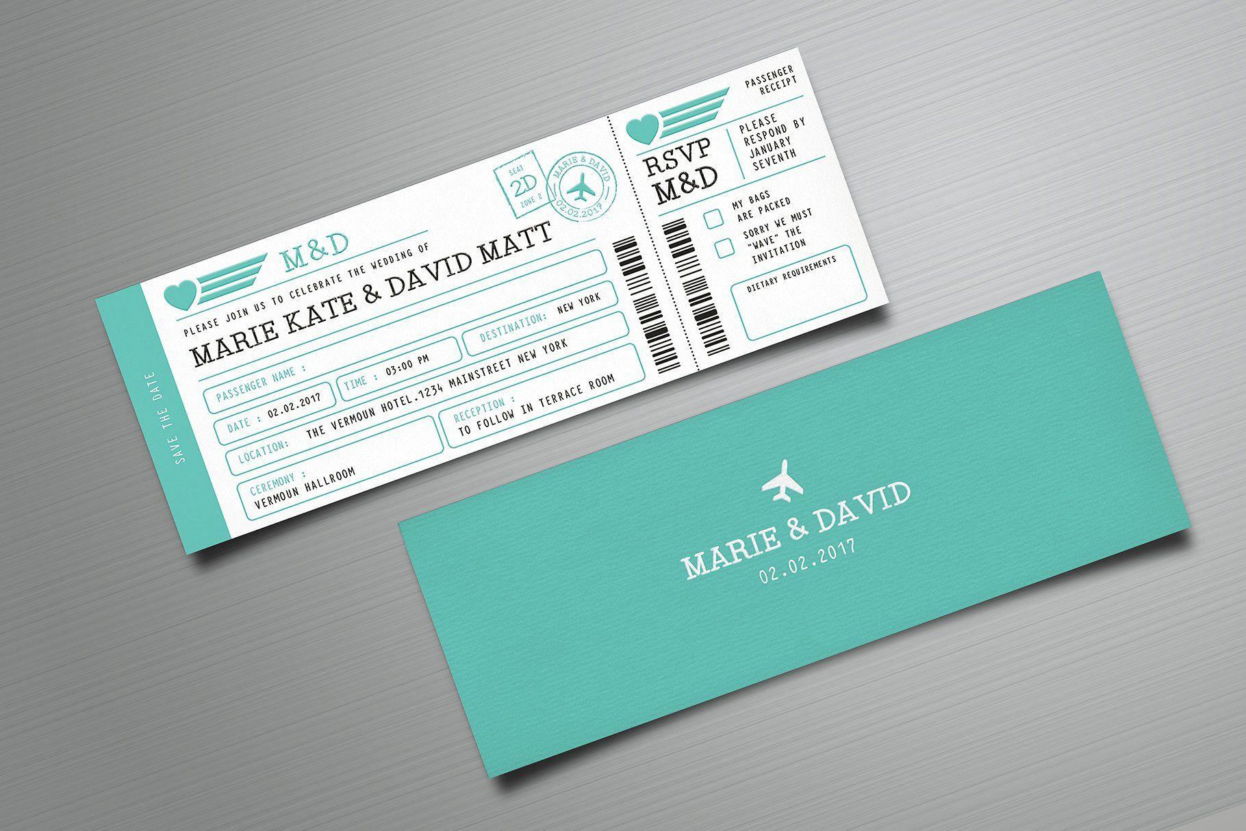 Boarding Pass Wedding Invitation 2020