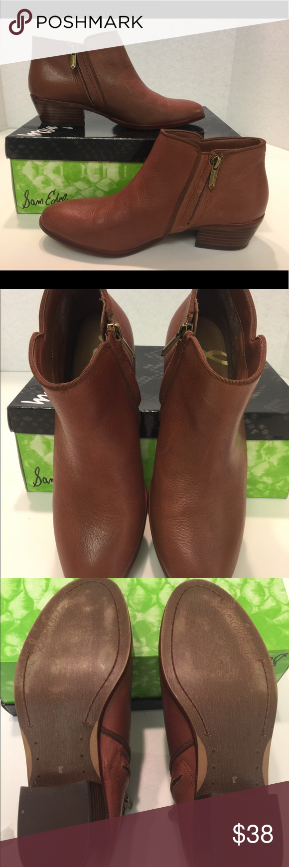 """ce11cd96e8feb San Edelman Petty Ankle Boots """"Saddle"""" 🌟LIKE NEW🌟 Sam Edelman Petty boots  in Saddle • Brown Leather ankle boots size 8"""