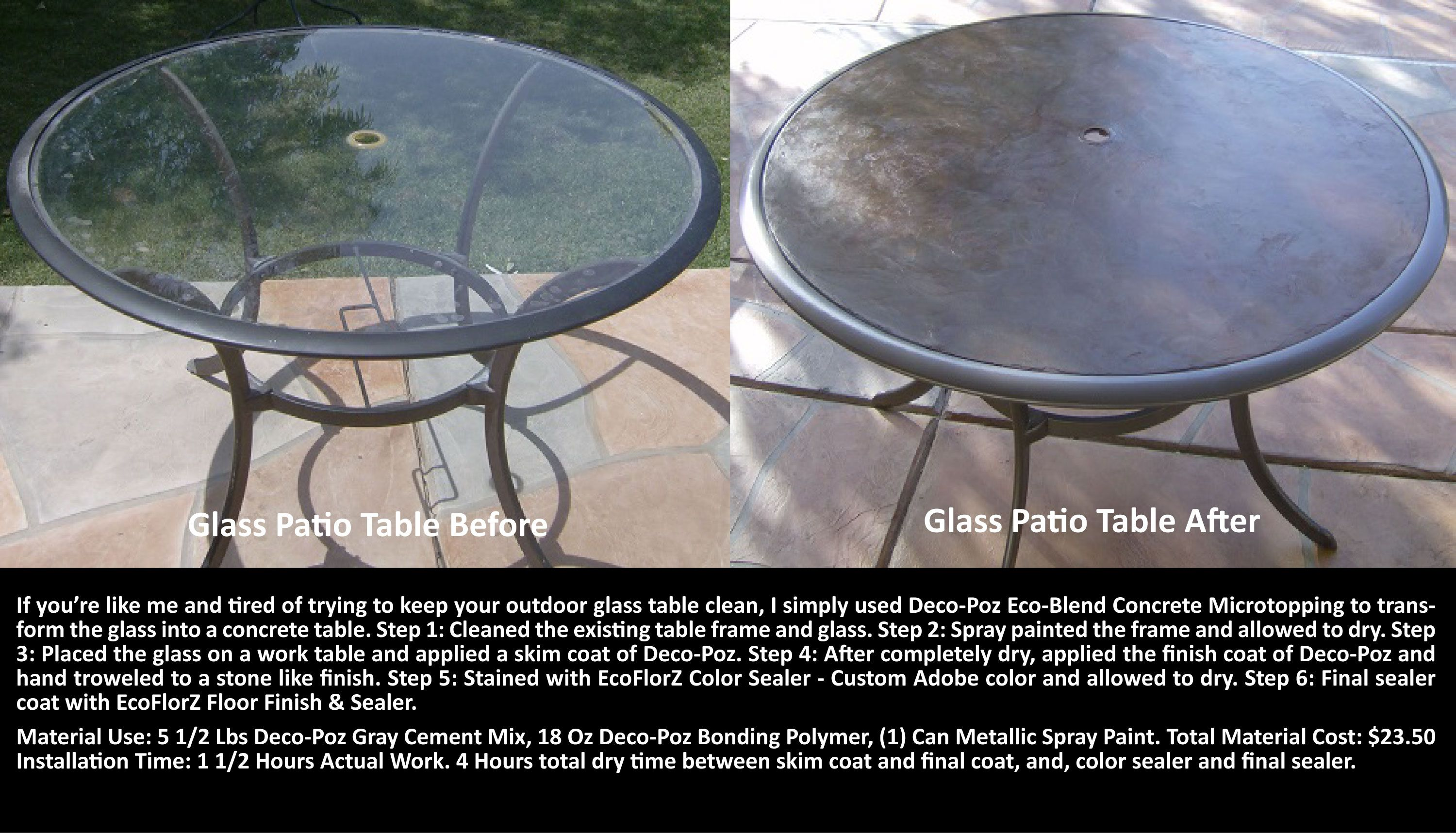Transforming A Glass Table Top Into A Decorative Stained Concrete