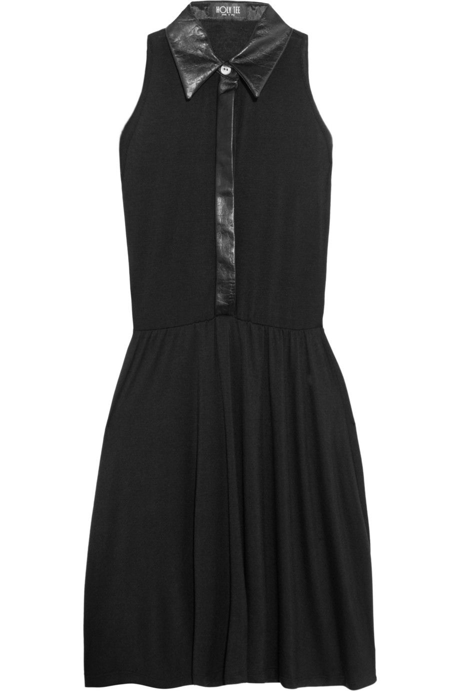 Holy Tee Charlie leather-collared jersey dress 
