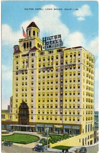 Vintage 1940s Linen Roadside Postcard Hilton Hotel Sky Room Long Beach California