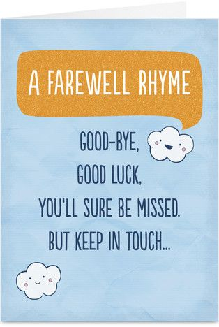 Farewell Rhyme Goodbye poem, Poem and Cards - farewell card template