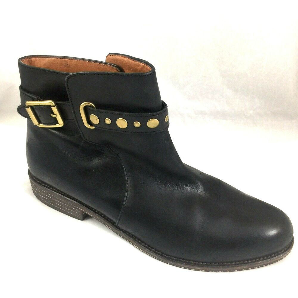 79cafcbcb9c Lucky Brand Ankle Boot Bootie Moto Black Leather Studded Strap Low ...