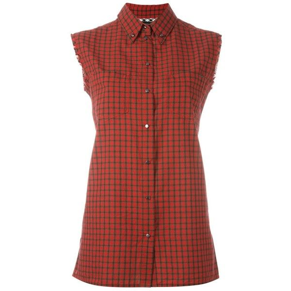 Diesel sleeveless plaid shirt (£43) ❤ liked on Polyvore featuring tops, red, red sleeveless top, diesel shirts, cotton sleeveless tops, red plaid shirt and red top