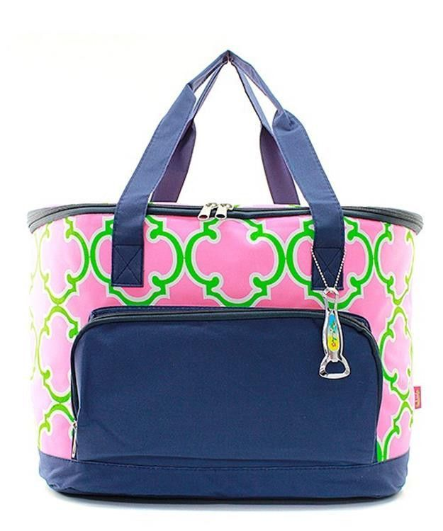 Moroccan Quatrefoil Navy Blue Pink Large Cooler Bag Insulated Tote