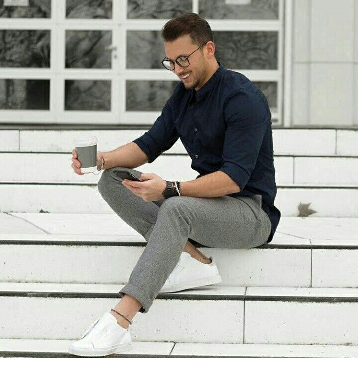 Mood of today... To feel good wear comfort men wears. Grey pants, navy blue shirt & white vans ( happy street style)