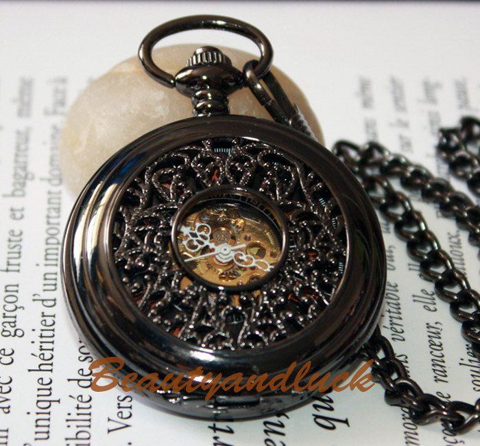 Black  Roma Dial Skeleton Men Unisex Mechanical Pocket Watch. $18.00, via Etsy.