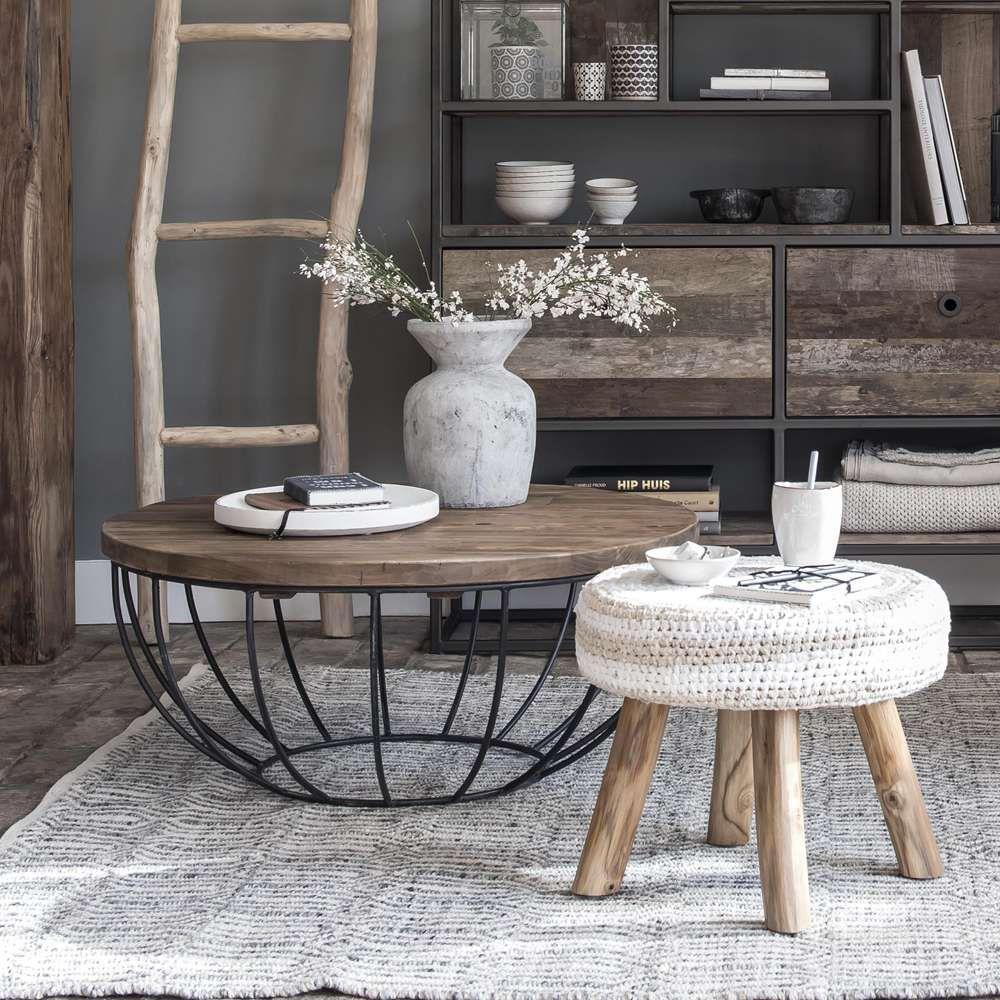 Korb Tisch Couchtisch Metall Sofa Tisch
