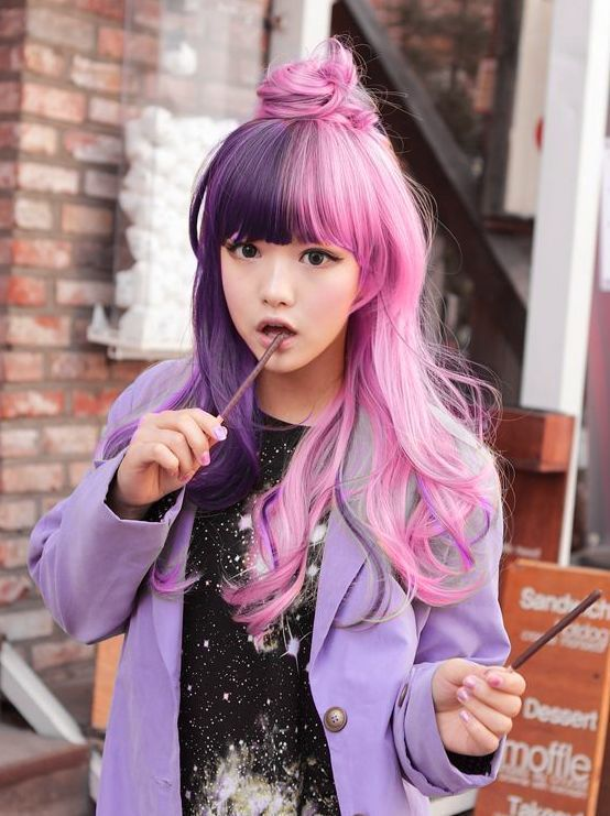 Cute two tone look of purple and pink with front bangs and cute bun half updo