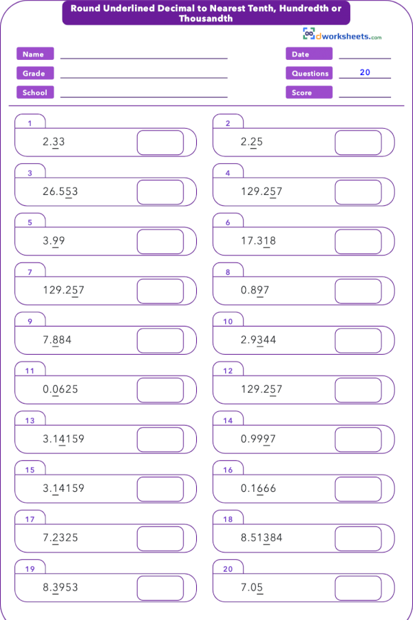 Learning or teaching 5th Grade Common Core Math Worksheet