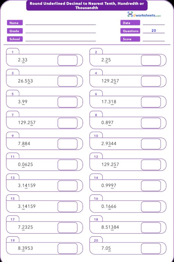 6 Rounding Decimals 5th Grade Math Worksheets Math