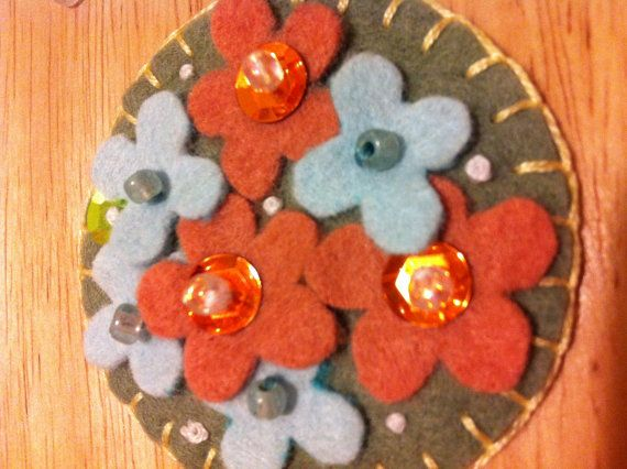 Felted Wool Pin Adorned with Colorful Flowers, Beads, Sequins and Embroidery-Brooch Pin/Scarf Pin/Hat Pin on Etsy, $11.95