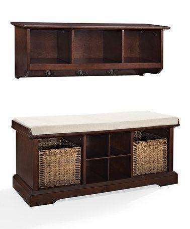 Another great find on #zulily! Mahagony Brennan Two-Piece Entryway Shelf & Bench Set #zulilyfinds
