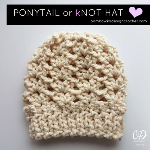 1f4c91286bc Ponytail or Knot Hat Free Pattern for a 1 Ball