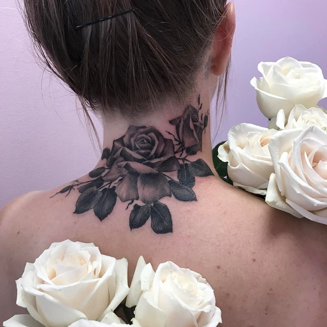 See This Instagram Photo By Malikarose 1 138 Likes Cover Up Tattoos For Women Rose Neck Tattoo Neck Tattoos Women